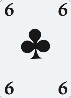 6 (six) of clubs from a deck of cards for astrologic interpretation.
