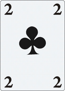Two of club playing card used in astrology.